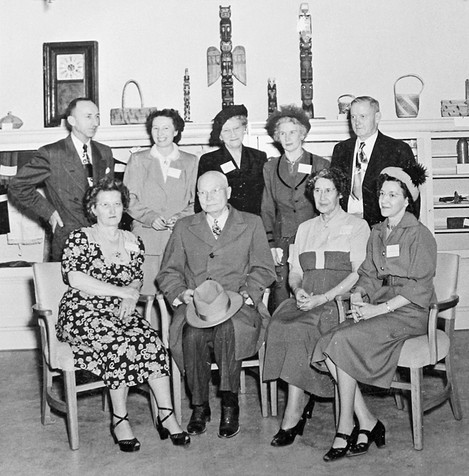 The Daughters of the Pioneers of Washington and friends in the newly adopted museum rooms in the basaement of City Hall, 1951.