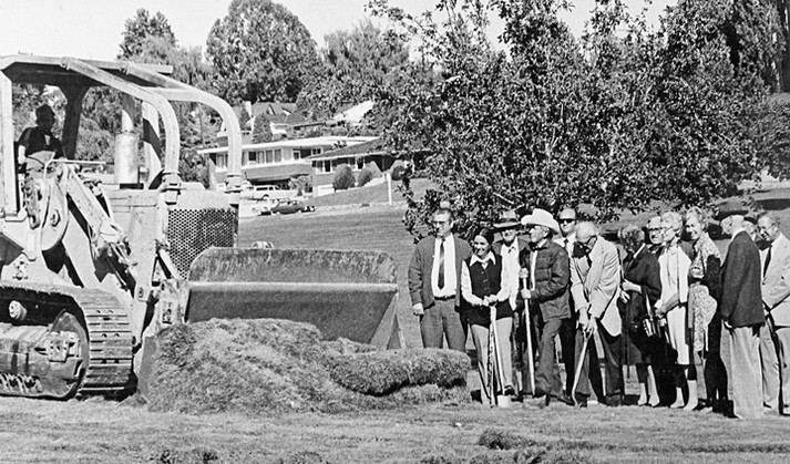 Groundbreaking in 1974 for a new addition to the Yakima Valley Museum to house the newly acquired Gannon Wagon collection. Felicia Holtzinger, Homer Splawn, and George Martin are pictured holding shovels.