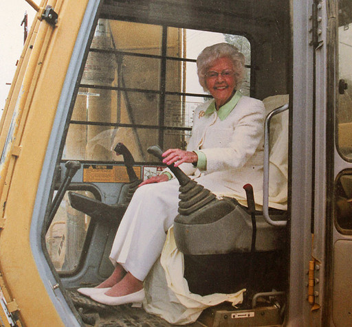 Helen Jewett pulls the old foyer off the front of the Yakima Valley Museum in 2001 at the groundbreaking of the museum's latest addition.