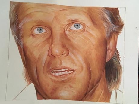 Greg Norman. Acrylic on paper