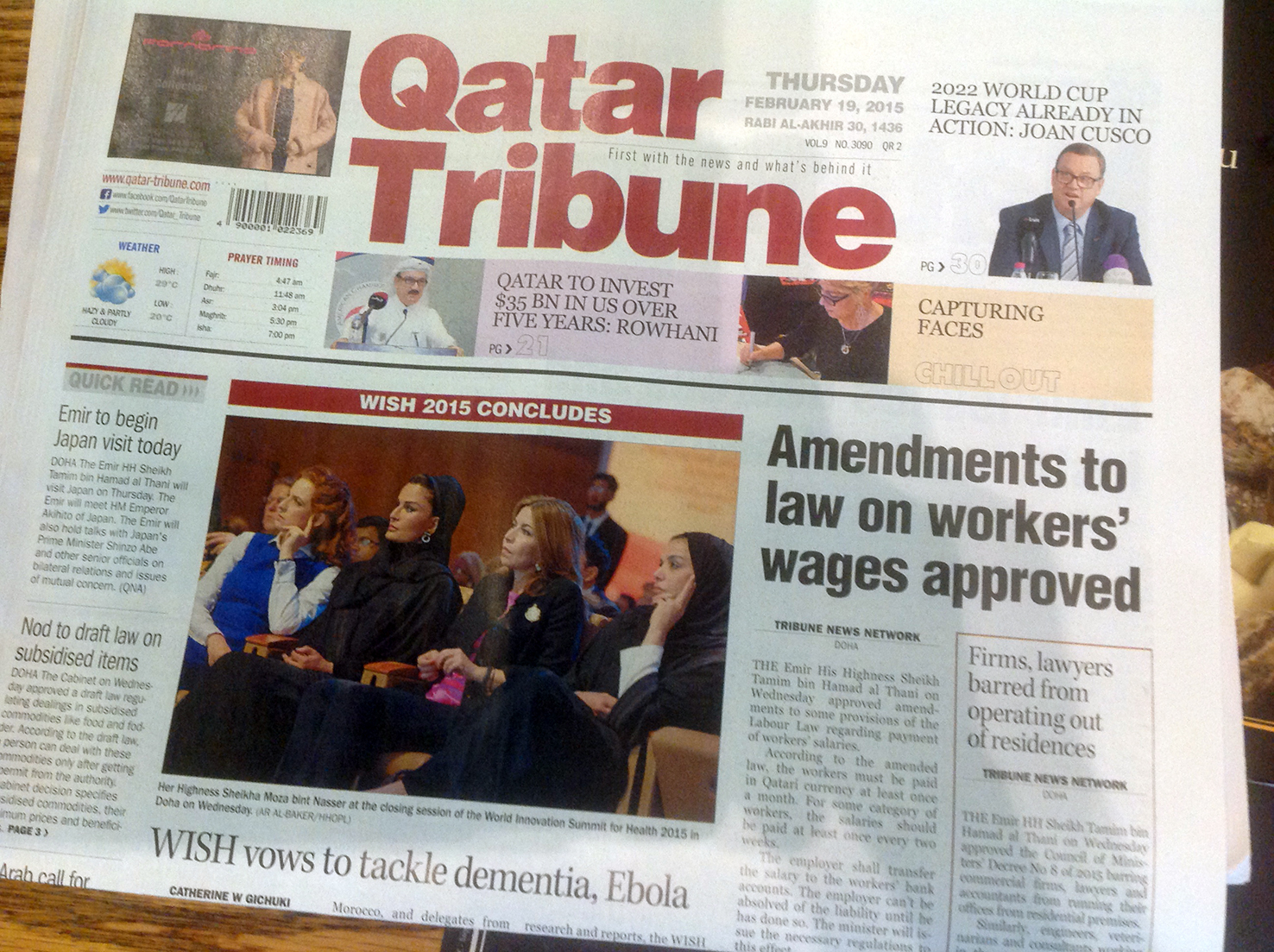 Qatar Tribune cover