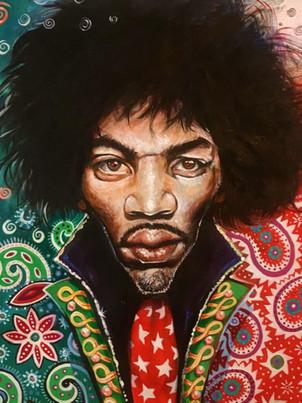 Jimi Hendrix. Acrylic on paper
