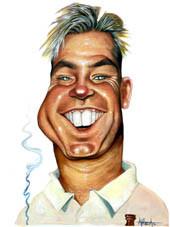 Shane Warne. Acrylic on paper