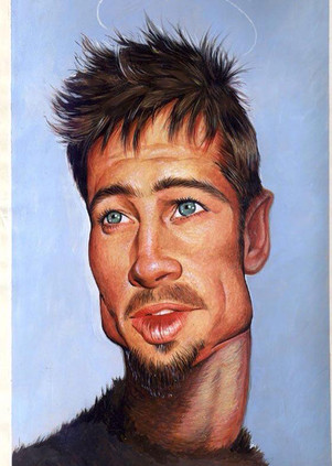 Brad Pitt. Acrylic on paper