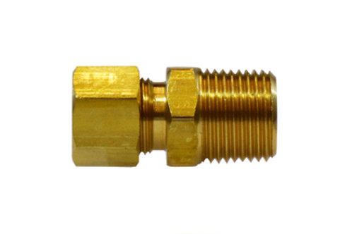 """Compression Fitting - Male Adapter - 3/8"""" Compression x 1/8"""" Male NPT - Brass"""