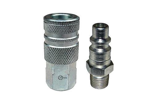 "Industrial Interchange - 3/8"" Female Coupler - 3/8"" Plug - 3/8"" Pipe Threads"