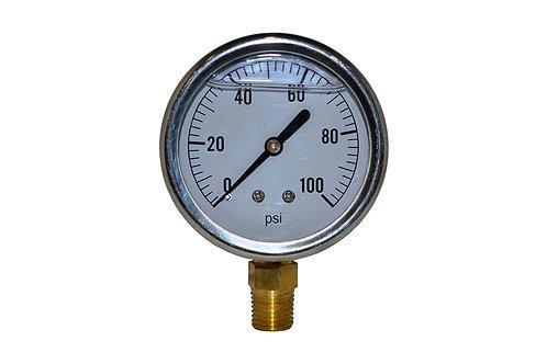 "Liquid Filled Pressure Gauge - 2-1/2"" 0 to 100 PSI - 1/4"" NPT - Single Scale"