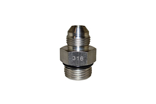 """Hydraulic Adapter - Straight Thread - 1/2"""" Male JIC x 5/8"""" Male ORB - Stainless"""