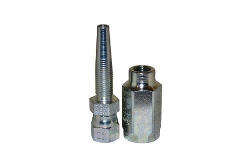 "Hydraulic Fitting - Reusable - 1/4"" Hose I.D. x 1/4"" Female JIC - 100R2AT Hose"