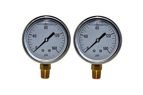 "Liquid Filled Pressure Gauge - 2-1/2"" 0 to 160 PSI - 1/4"" NPT - Single Scale 2PK"
