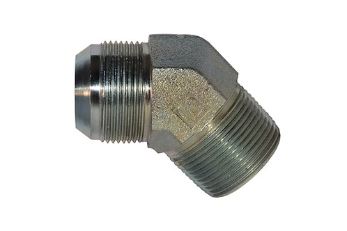 "Hydraulic Adapter - 45° Male Elbow - 1/2"" Male JIC x 1/2"" MPT - Plated Steel"