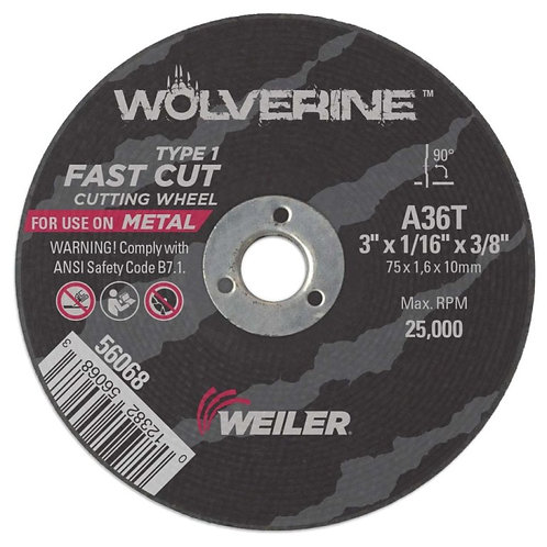 "Cutting Wheel - Wolverine - Type 1 - 3"" x 1-1/16"" - 3/8"" Arbor - A36T 36 Grit"