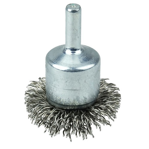 """Crimped Wire End Brush - Circular Flared - 1-1/2"""" - .020"""" Stainless Steel Fill"""