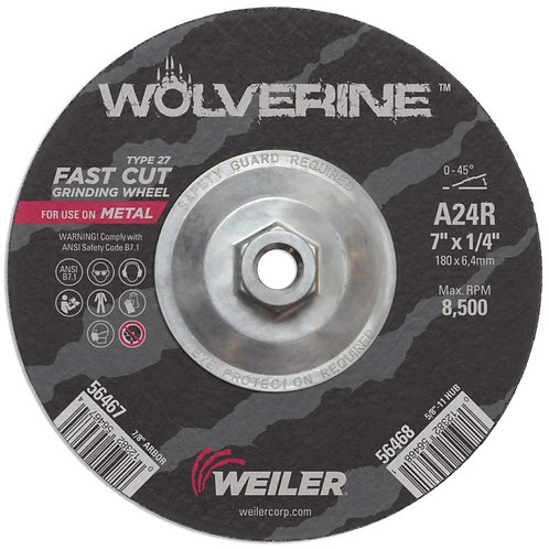 "Grinding Wheel - Wolverine - Type 27 - 7"" x 1/4"" - 5/8"" -11 UNC - A24R 24 Grit"