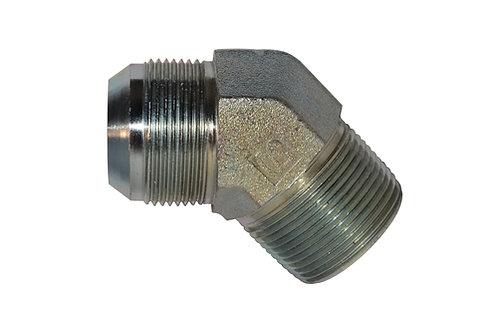 """Hydraulic Adapter - 45° Male Elbow - 5/8"""" Male JIC x 1/2"""" MPT - Steel - 6 PK"""
