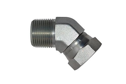 "Hydraulic Adapter - 45° Elbow - 1/4"" MPT x 1/4"" Female Pipe Swivel - Steel - 6PK"