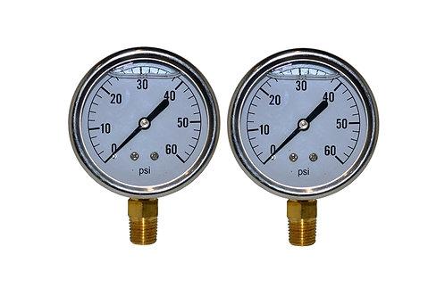 "Liquid Filled Pressure Gauge - 2-1/2"" 0 to 60 PSI - 1/4"" NPT - Single Scale 2 PK"