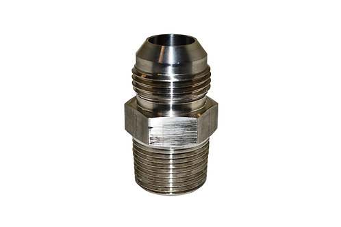 """Hydraulic Adapter - Male Connector - 3/4"""" Male JIC x 3/4"""" MPT - Stainless Steel"""