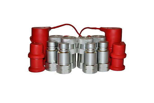 "Hydraulic Quick Coupler - ISO 16028 Flat Face 1/2"" x 3/4"" NPT - W/ Dust Caps 4PK"