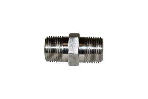 "Hydraulic Adapter - Hex Nipple - 3/8"" Male NPT x 3/8"" Male NPT - Stainless Steel"