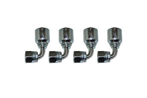 "Hydraulic Crimp Fitting - 1/4"" Female Seal-Lok 90° x 1/4"" Hose Barb E295 4 Pack"