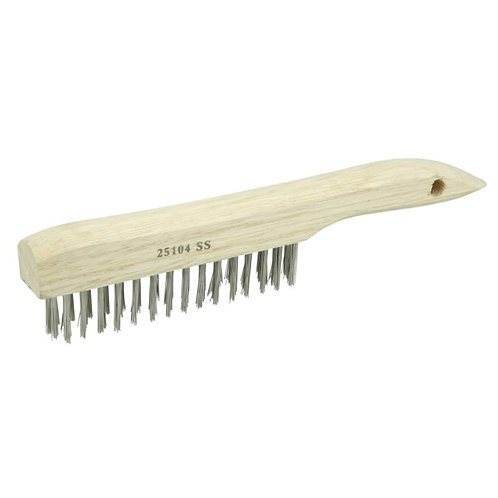 "Vortec Pro Scratch Brush - .012"" Stainless Steel Fill - Shoe Handle 4 x 16 Rows"