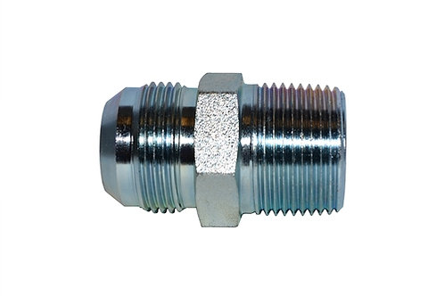 """Hydraulic Adapter - Male Connector - 1/4"""" Male JIC x 1/4"""" MPT - Plated Steel"""