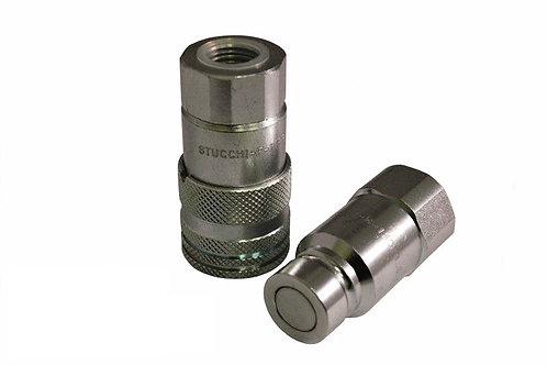"""Hydraulic Quick Coupler - ISO 16028 Flat Face 3/8"""" x 3/8"""" Female Pipe - Stucchi"""