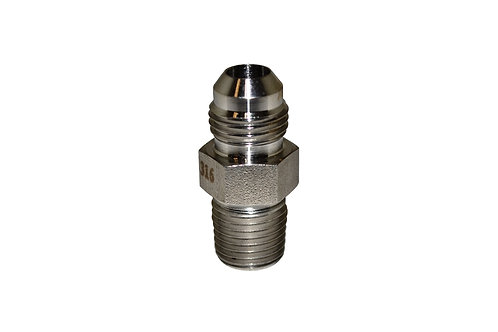 """Hydraulic Adapter - Male Connector - 3/8"""" Male JIC x 1/4"""" MPT - Stainless Steel"""