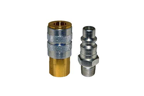 "Industrial Interchange - 1/4"" Female Coupler - 1/4"" Plug - 3/8"" Pipe Threads"