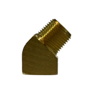 """Pipe Fitting - 45° Street Elbow - 1/8"""" Female Pipe x 1/8"""" Male Pipe - Brass"""