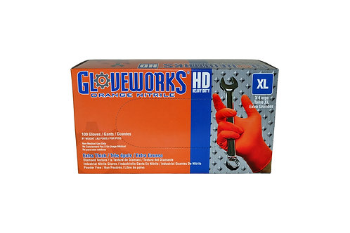 Gloveworks - Heavy Duty - Orange Nitrile - 8 Mil - XL
