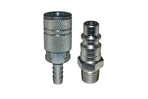 "Industrial Interchange - 3/8"" Coupler/Plug - 3/8"" Hose Barb - 3/8"" Male Pipe"
