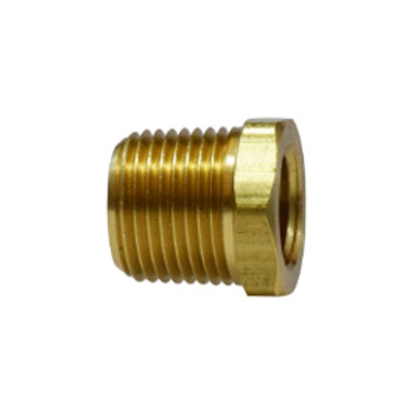 """Pipe Fitting - Hex Bushing - 3/8"""" Male Pipe x 1/8"""" Female Pipe - Brass"""