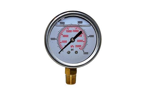 "Liquid Filled Pressure Gauge - 2-1/2"" 0 to 5000 PSI - 1/4"" NPT - Dual Scale"