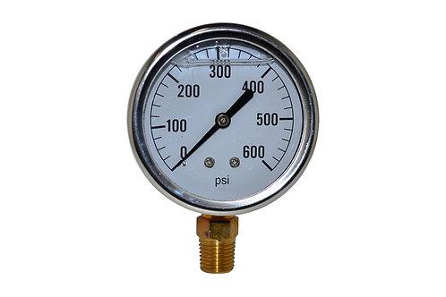 "Liquid Filled Pressure Gauge - 2-1/2"" 0 to 600 PSI - 1/4"" NPT - Single Scale"