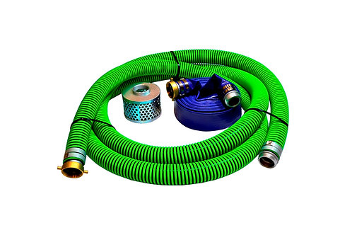 "EPDM Rubber Suction Hose - 3"" x 20' - Pin Lug Kit - 50' Blue Discharge"