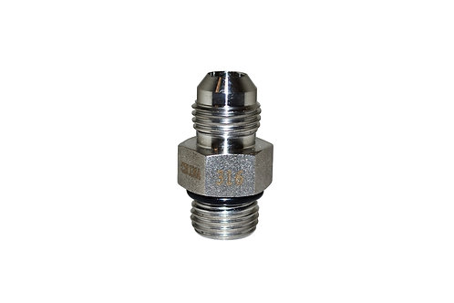 "Hydraulic Adapter - Straight Thread - 3/8"" Male JIC x 3/8"" Male ORB - Stainless"