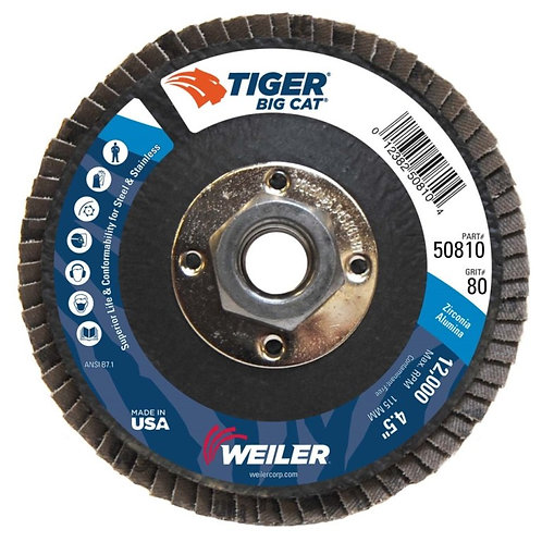 "Big Cat Abrasive - 4-1/2"" x 5/8"" -11 UNC - High Density - Flat Type 27 - 80 Grit"