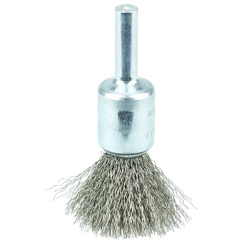 """Crimped Wire End Brush - 1/2"""" - .006"""" Stainless Steel Fill - 10013"""
