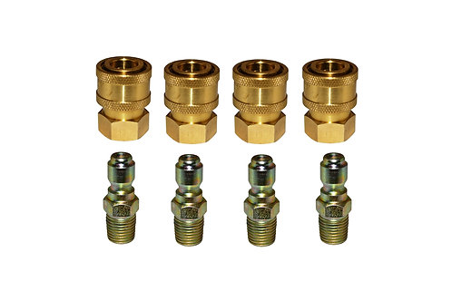 """Pressure Washer Quick Connects - 1/4"""" FPT Socket - 1/4"""" MPT Plug - 4 Pack"""