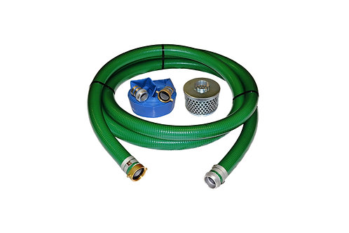 "PVC Green Standard Suction Hose - 1-1/2"" x 20' - Pin Lug Kit 50' Blue Discharge"