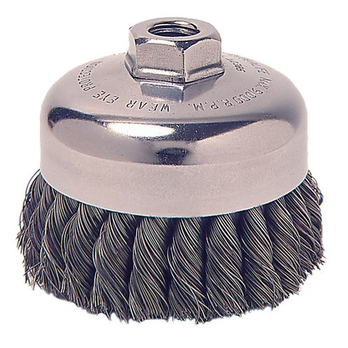 "Knot Wire Cup Brush - Wolverine - 4"" - .025"" Steel Fill - 5/8"" -11 UNC Nut"