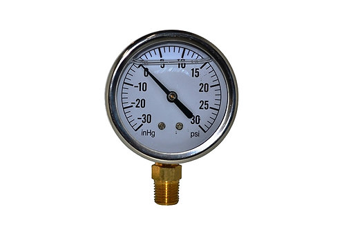 "Liquid Filled Vacuum Gauge - 2-1/2"" -30 inHg to 30 PSI - 1/4"" NPT - Single Scale"