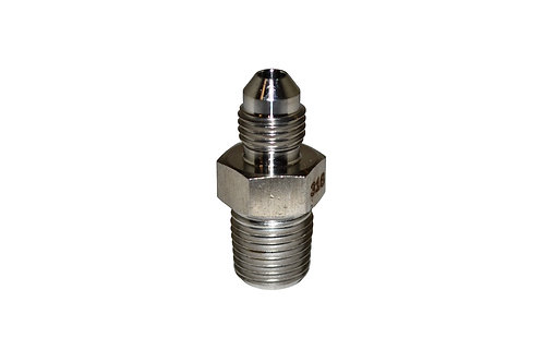 """Hydraulic Adapter - Male Connector - 1/4"""" Male JIC x 1/4"""" MPT - Stainless Steel"""