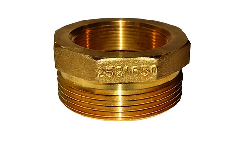 """Fire Hydrant Adapter - 2"""" Female NPT x 2-1/2"""" Male NST/NH - Brass"""