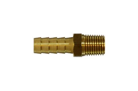 "Hose Barb Fitting - Rigid Male Adapter - 1/2"" Hose I.D. x 1/2"" Male Pipe - Brass"