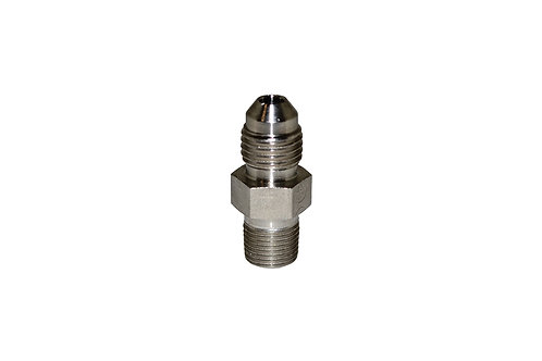 "Hydraulic Adapter - Male Connector - 1/4"" Male JIC x 1/8"" MPT - Stainless Steel"