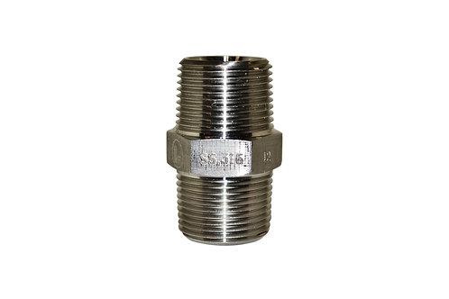 "Hydraulic Adapter - Hex Nipple - 3/4"" Male NPT x 3/4"" Male NPT - Stainless Steel"