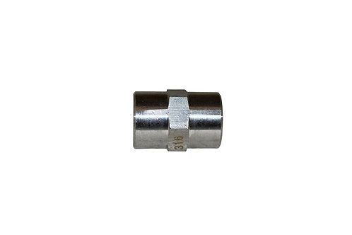 """Hydraulic Adapter - Pipe Coupler - 1/4"""" FPT x 1/4"""" FPT - Stainless Steel"""